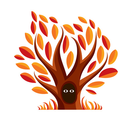ocas: Vector art illustration of branchy tree with den. Two eyes of an animal looking from hollow, symbolic graphic image, fairy idea. Vectores