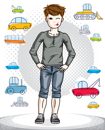 human tongue: Young teen boy cute children standing in stylish casual clothes. Vector character. Childhood lifestyle clip art. Illustration