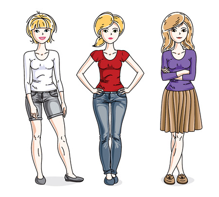 t shirt model: Attractive young women standing wearing casual clothes. Vector characters set. Fashion and lifestyle theme cartoons. Illustration