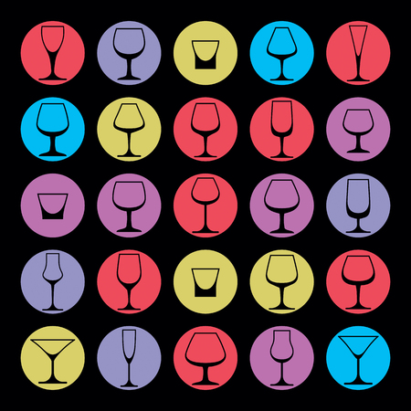 wineglass: Decorative drinking glasses collection. Set of celebration goblets, simple vector glassware, can be used in graphic and web design.