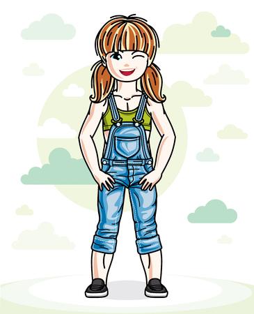 青い空と雲と自然を背景に立っている私服で赤い髪のかわいい少女幼児。かわいい子のベクター イラストです。