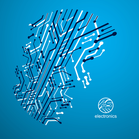 Vector circuit board with electronic components of technology device. Computer motherboard cybernetic abstraction. Electronic microprocessor Illustration