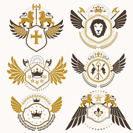 Vector classy heraldic Coat of Arms. Collection of blazons stylized in vintage design and created with graphic elements, royal crowns and flags, stars, towers, armory, religious crosses.