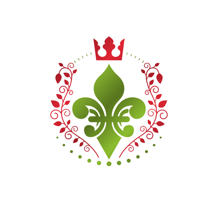 fleur of lis: Heraldic coat of arms decorative emblem with lily flower and royal crown, eco product. Isolated vector illustration, Fleur-De-Lis.