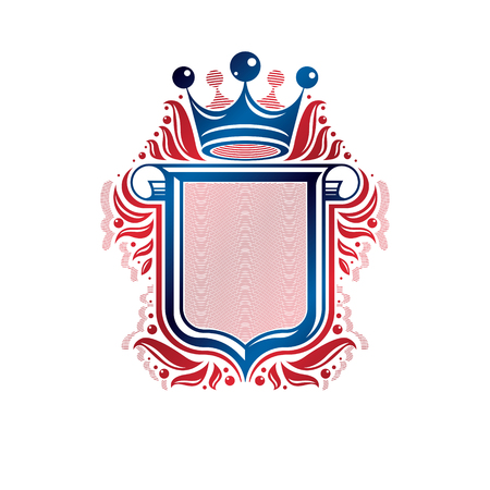 rolled up: Blank heraldic design with copy space and cartouche, vector vintage protection shield emblem decorated with royal crown and rolled-up ends.