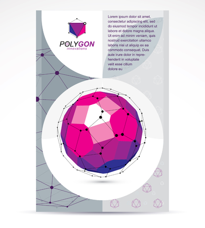3d ball: Innovation technologies company presentation flyer. Graphic vector illustration. Colorful abstract 3d mesh object, design element technology low poly template. Illustration