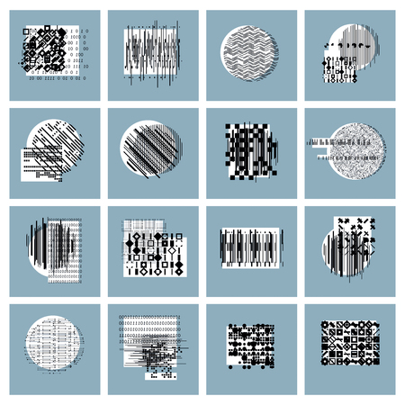 chaos: Abstract geometric compositions set, vector backgrounds collection. Illustration