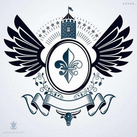 Vintage vector emblem made in heraldic design with wings, stars and medieval fortress