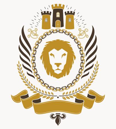winged lion: Vintage award design, vintage heraldic Coat of Arms. Vector emblem. Vectores