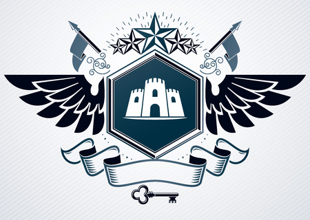 Classy emblem made with eagle wings decoration, medieval tower and pentagonal star symbols. Vector heraldic Coat of Arms.