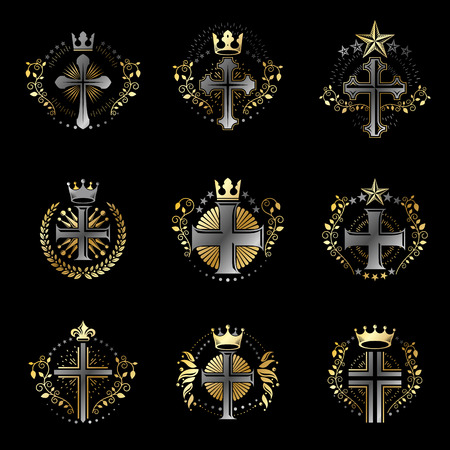 Christian Crosses emblems set. Heraldic Coat of Arms decorative logos isolated vector illustrations collection. Illustration
