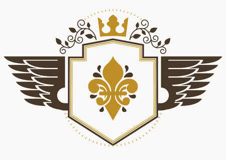 Vector retro heraldic template created using eagle wings and made using vintage elements like royal crown Illustration