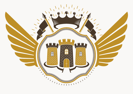 bastion: Vector retro heraldic template created using eagle wings and made using vintage elements like royal crown and medieval stronghold