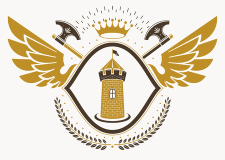 Vector illustration of old style heraldic emblem decorated with eagle wings and made with medieval fortress and crown Illustration