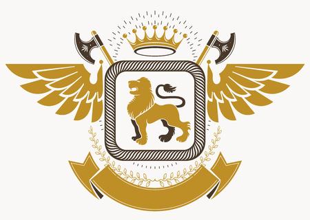 winged lion: Plantilla de vector emblema heráldico de lujo hecha usando las alas de aves, ilustración león salvaje y corona imperial Vectores