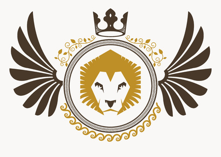 winged lion: Luxury heraldic vector emblem template made using bird wings, wild lion illustration and imperial crown
