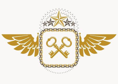 Luxury heraldic vector emblem template made using bird wings, keys and pentagonal stars  イラスト・ベクター素材