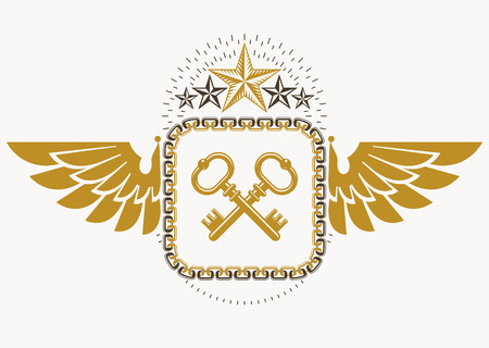 Luxury heraldic vector emblem template made using bird wings, keys and pentagonal stars Çizim