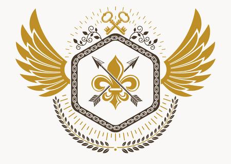 Luxury heraldic vector emblem template made using bird wings, keys and armory