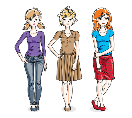 t shirt model: Happy pretty young women standing wearing fashionable casual clothes. Vector set of beautiful people illustrations.