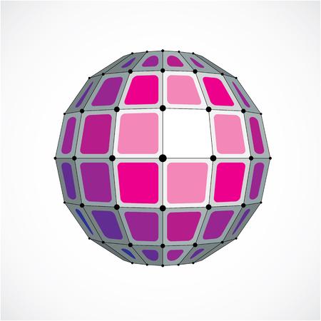 Objet sphérique filaire numérique vectoriel 3D fabriqué à l'aide de facettes. Structure polygonale polygonale géométrique créée avec des lignes maille et des carrés. Forme en polyéthylène basse, forme en treillis pour une utilisation dans la conception de sites Web.