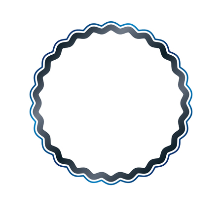 Award vintage circular frame with clear copy space made as art medallion design decorated with curves and undulate lines. Vector retro style label, mirror border. Illustration