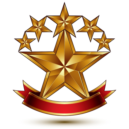 glamorous: Glamorous vector template with pentagonal golden stars, best for use in web and graphic design. Conceptual heraldic icon with red curved ribbon, clear eps8 vector.