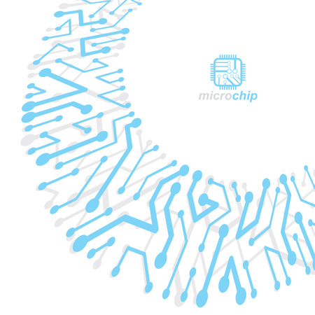 Vector abstract technology illustration with circuit board. High tech digital scheme of electronic device. Technology microchip abstract background Çizim