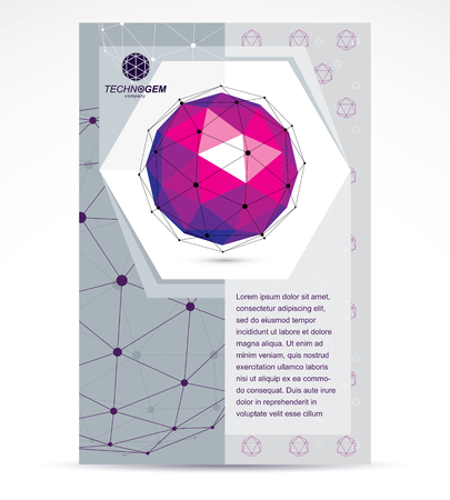 3d ball: New technology theme booklet cover design, front page. Abstract three-dimensional colorful shape, vector design element.