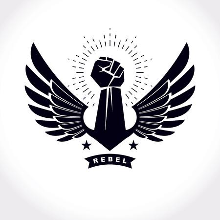 Sterk opgeheven wapen van atletische mensen vectorillustratie. Vechtsporten kampioenschap abstract symbool. Stock Illustratie