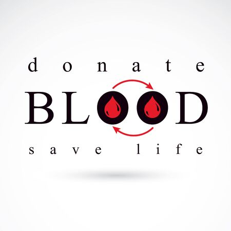 blood transfer: Blood donation vector symbol created with red blood drops and arrows. Blood transfusion metaphor, medical care emblem.
