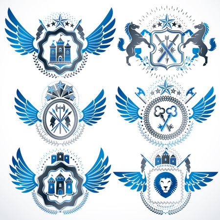 five star: Vector classy heraldic Coat of Arms. Collection of blazons stylized in vintage design and created with graphic elements, royal crowns and flags, stars, towers, armory, religious crosses.