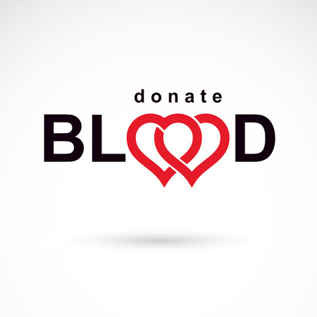 blood transfer: Save life and donate blood, rehabilitation conceptual vector illustration created using heart shape and blood drops.
