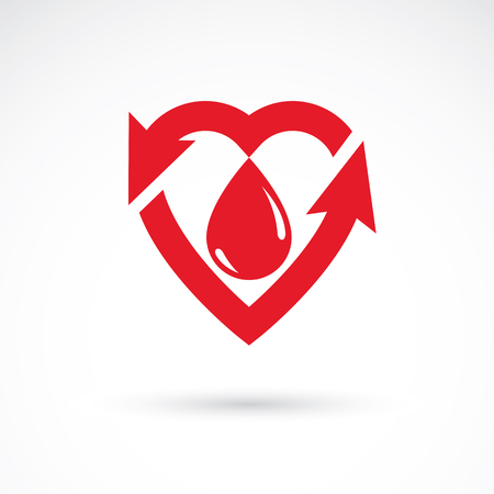 med: Vector red heart with blood circulation inscription with direction arrows. Blood transfusion metaphor, medical care emblem for use in pharmacy.