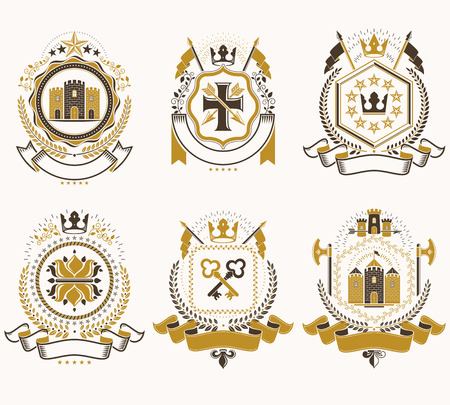 Vector vintage heraldic Coat of Arms designed in award style. Medieval towers, armory, royal crowns, stars and other graphic design elements collection. Иллюстрация