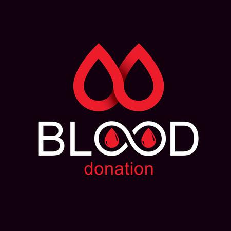Illustration vectorielle de don de sang concept graphique isolé sur blanc. Emblème de thème d'hématologie. Le 14 juin, journée mondiale des donneurs de sang.