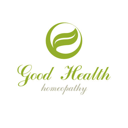 homeopathic: Green spring leaves vector graphic symbol for use in healthcare business. Vegetarian lifestyle conceptual logotype. Illustration