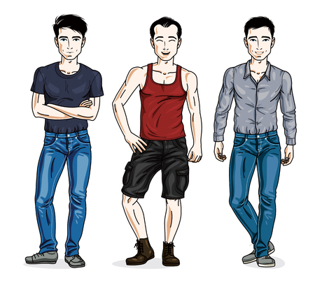 Handsome young men group standing wearing fashionable casual clothes. Vector people illustrations set.