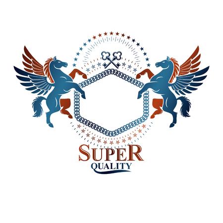 Graphic vintage emblem composed with winged Pegasus ancient animal element, keys and pentagonal stars. Heraldic vector design element. Retro style label, heraldry logo.