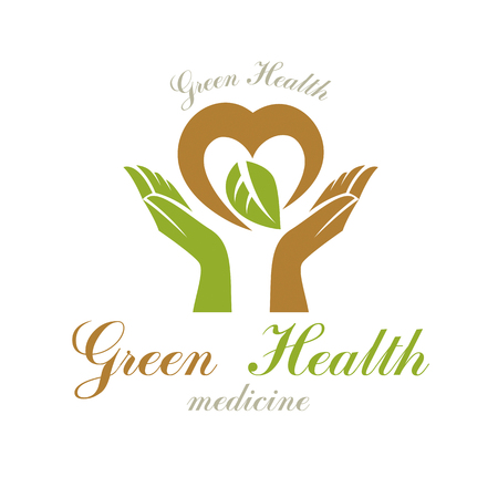 Vector heart shape composed with green leaves and caring hands. Medical rehabilitation abstract logo for use in charitable organizations. Illustration