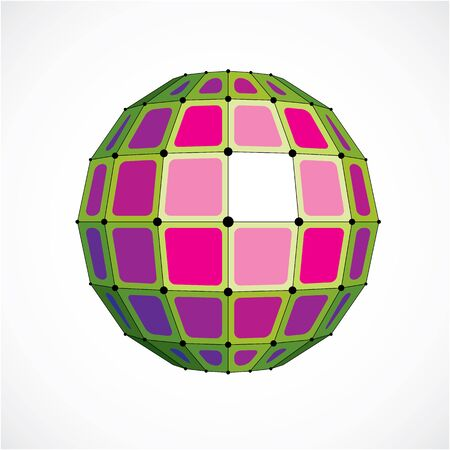 globe grid: Vector dimensional wireframe low poly object, spherical green facet shape with black grid. Technology 3d mesh element made using squares for use as design form in engineering.