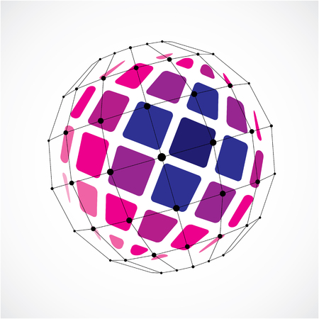3d ball: Vector dimensional wireframe low poly object, spherical purple facet shape with black grid. Technology 3d mesh element made using squares for use as design form in engineering.