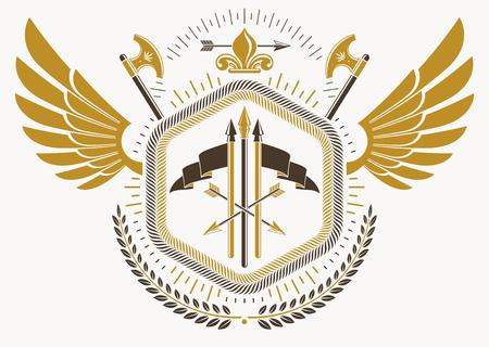 Emblème héraldique fabriqué à l'aide d'éléments graphiques comme les ailes, les haches et l'arsenal d'oiseau, illustration vectorielle. Banque d'images - 83981724