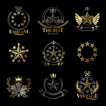 five star: Stars emblems set. Heraldic Coat of Arms decorative logos isolated vector illustrations collection.
