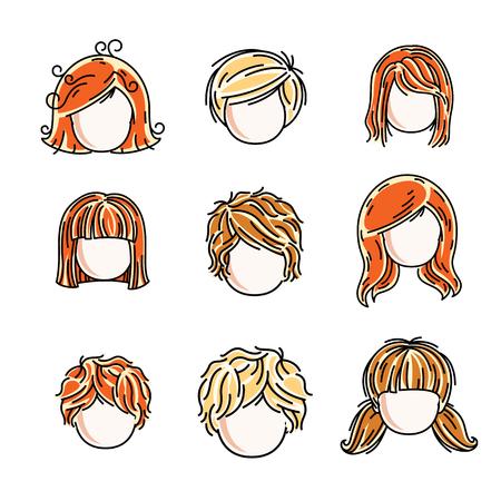 Verzameling van schattige meisjes gezichten, vector menselijke hoofd platte illustraties. Set van roodharige en blonde tienermeisjes, kleine schoolmeisjes avatars clipart. Stock Illustratie