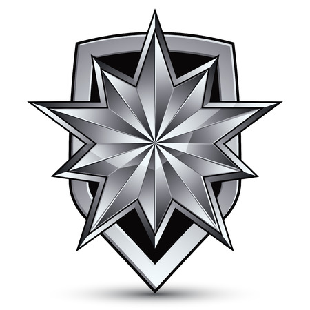 3d heraldic vector template with polygonal silver star, complicated dimensional royal geometric medallion isolated on white background. Иллюстрация