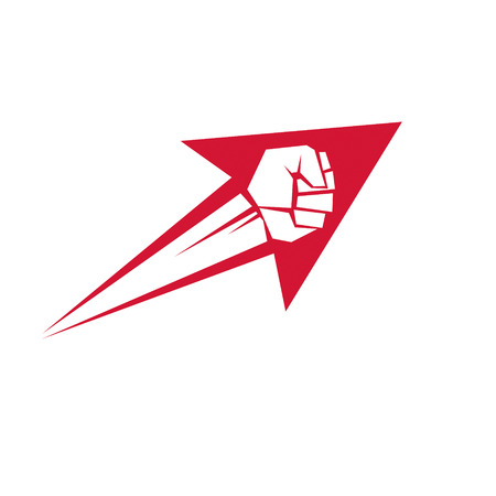 Vector illustration of clenched fist in the shape of arrow. Power and authority conceptual logo.