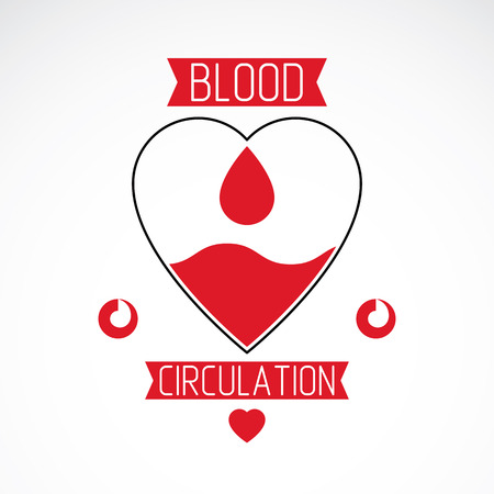 blood transfer: Vector illustration of heart shape. Blood circulation concept, charity and volunteer conceptual logo for use in medical care advertisement.