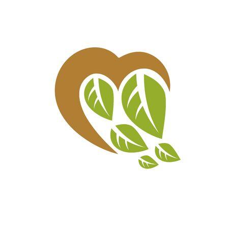 Vector illustration of romantic heart. Homeopathy creative symbol, naturopathy theme. Illustration