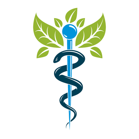 Caduceus symbol, healthcare conceptual vector illustration. Homeopathy creative emblem. 版權商用圖片 - 83999358